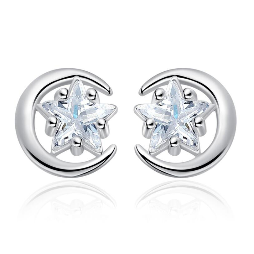 Opening Pentagram Star Stud Earrings Zircon Pentangle Punk Earring Silver Color Earings For Women Jewelry