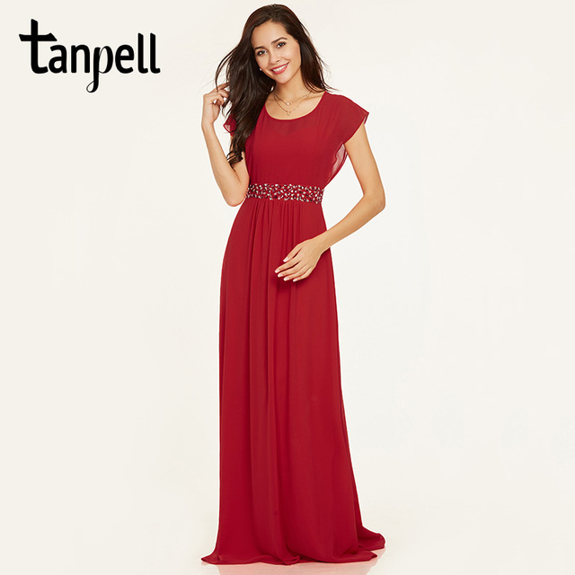 Tanpell scoop neck evening dress red cap sleeves floor length a line gown  cheap women beaded sashes prom long evening dresses d7054ef47f37