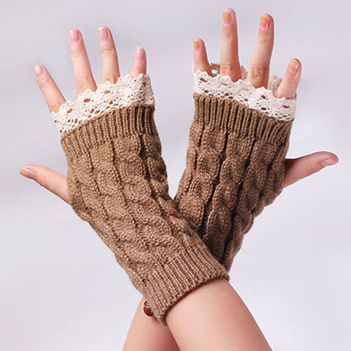2015 Hot Selling Women Fingerless Lace Gloves Soft Knitted Warm Long Mitten Wrist Warmer Winter Gift