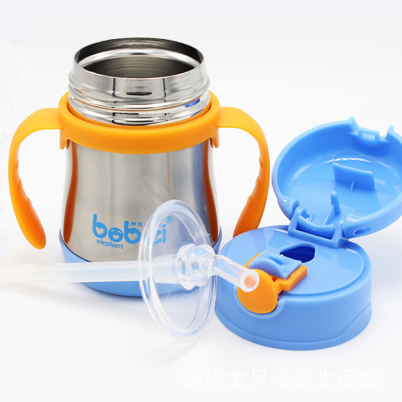 200ml 1pc Children 's cup 304stainless steel insulation drinking straw cup winter learning cups water milk bottles leakage proof straw cap for drinking bottles 2 7cm random color