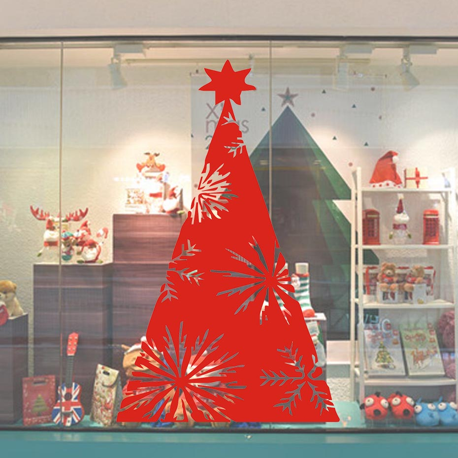 Christmas Tree Wall Stickers Shop Window Glass Decorative Stickers In The New Year