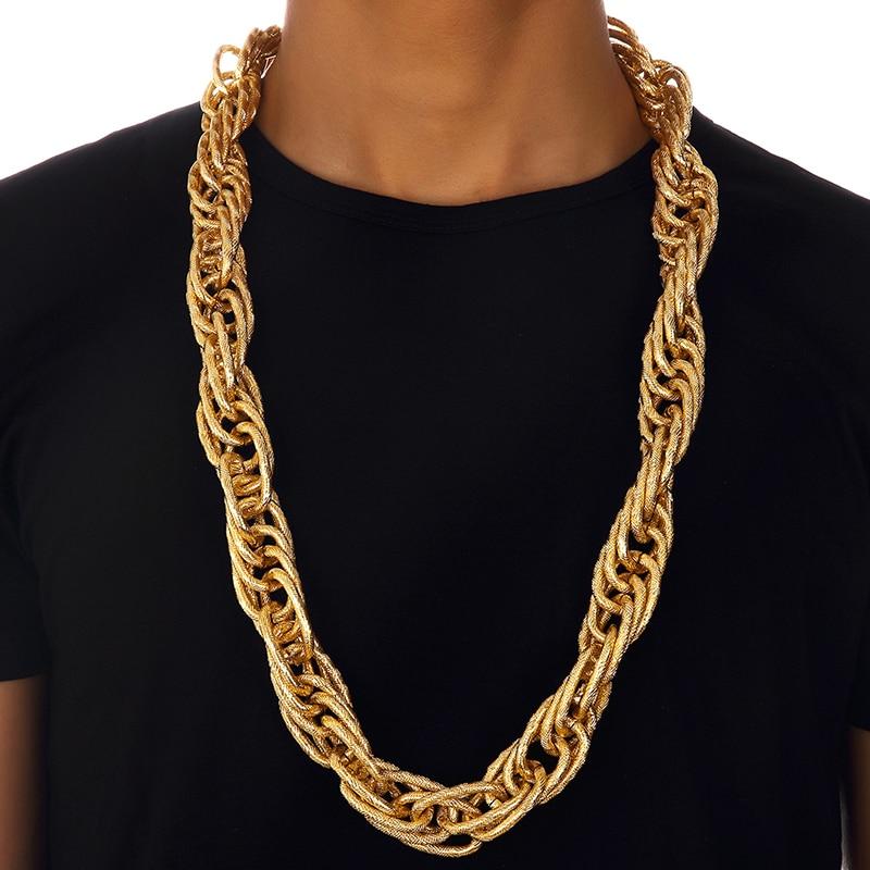 Boutique en ligne b87fb 595c5 € 14.24 |Dijes 90 cm * 22mm mujeres hombres gruesas cadenas retorcidas oro  Bling noche Bar Club collares Hip Hop joyería regalos de boda-in Collares  ...