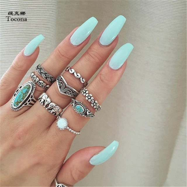 Tocona 9pcs/Set Boho Elephant Flower Wave Carved Knuckle Midi Finger Rings Set f