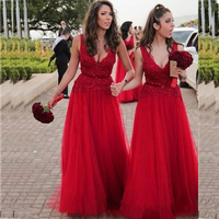 Elegant Dark Red Long Bridesmaid Dresses V Neckline Lace Appliques Beaded Floor Length A Line Wedding Party Gowns Prom Dress