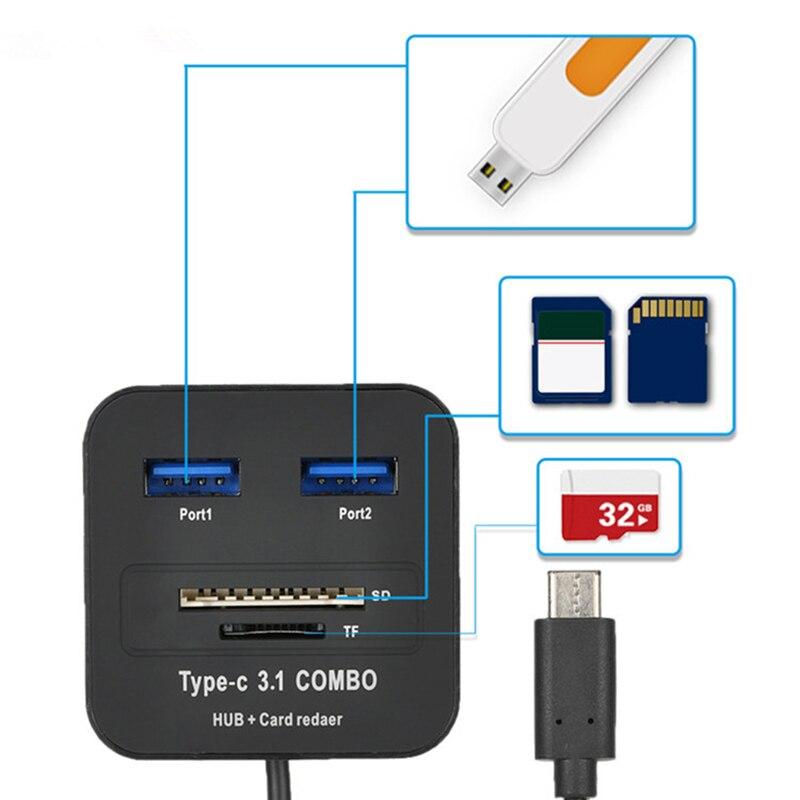 Высокоскоростной Многофункциональный тип-c кард-ридер тройной игры для Millet 4c LeTV Apple MacBook(черный