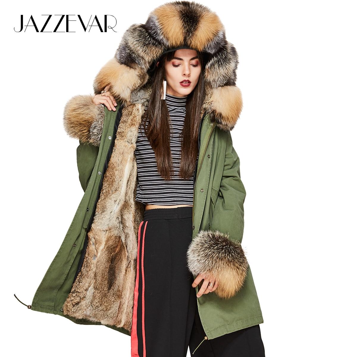 JAZZEVAR 2019 New Fashion Women's Luxurious real fox fur Collar hooded Coat Military Parkas warm rabbit lining Winter Jacket