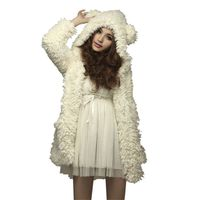 Women Thicken Fleece Coat Jacket Winter Warm Outerwear Hoodies Kawaii Bear Ears Hooded Chaquetas Mujer