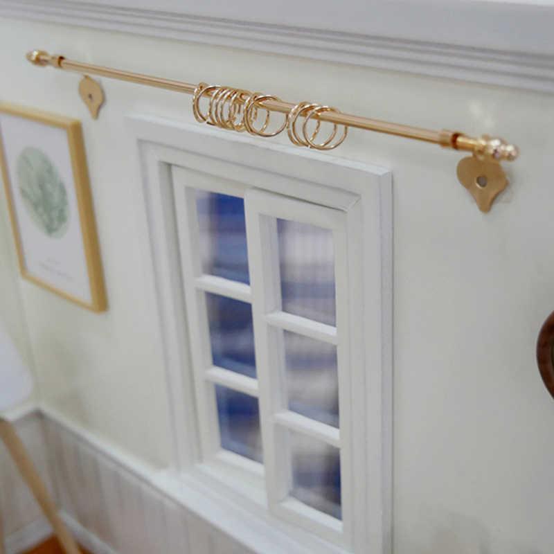 1:12 miniatura casa de bonecas em miniatura requintado cortina de renda casa de bonecas móveis windows acessórios liga mini cortina haste dourada
