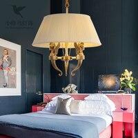 American postmodern full copper lamps and lanterns villa Jane's restaurant staircase corridor pure copper chandelier