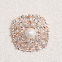Autumn new exquisite cz brooch Retro Black and white simulated pearl brooch jewelry all match female models 4.2CM*4.2CM