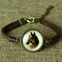 Sue Phil Jewelry Charms Pendants Horse Logo Leather bracelets & bangles Glass galaxy bracelets animal horse bracelet Drop Ship