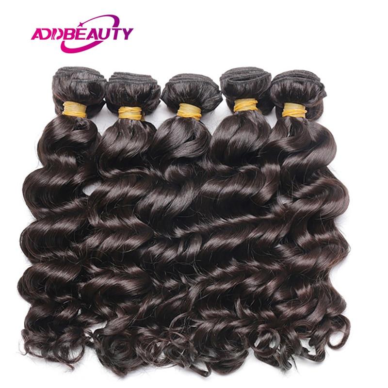 Addbeauty 10Pcs Lot Indian Natural Wave Color 100% Human Virgin Hair Bundles Extension Inch Double Weft For Black Woman Salon