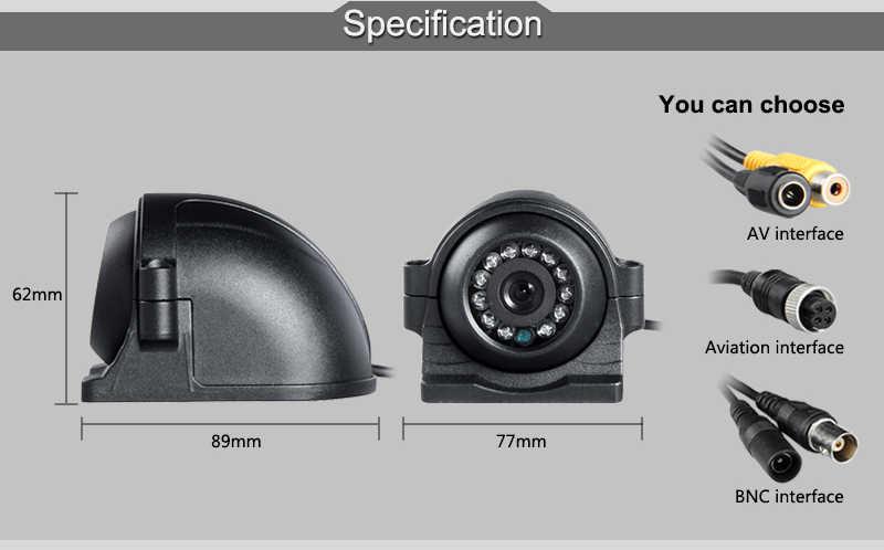 Gratis Pengiriman 12 V 4 Pin Logam IR Malam Visi Tahan Air Mobil Belakang/Front View Reverse Cadangan kamera untuk Bus Truk Van