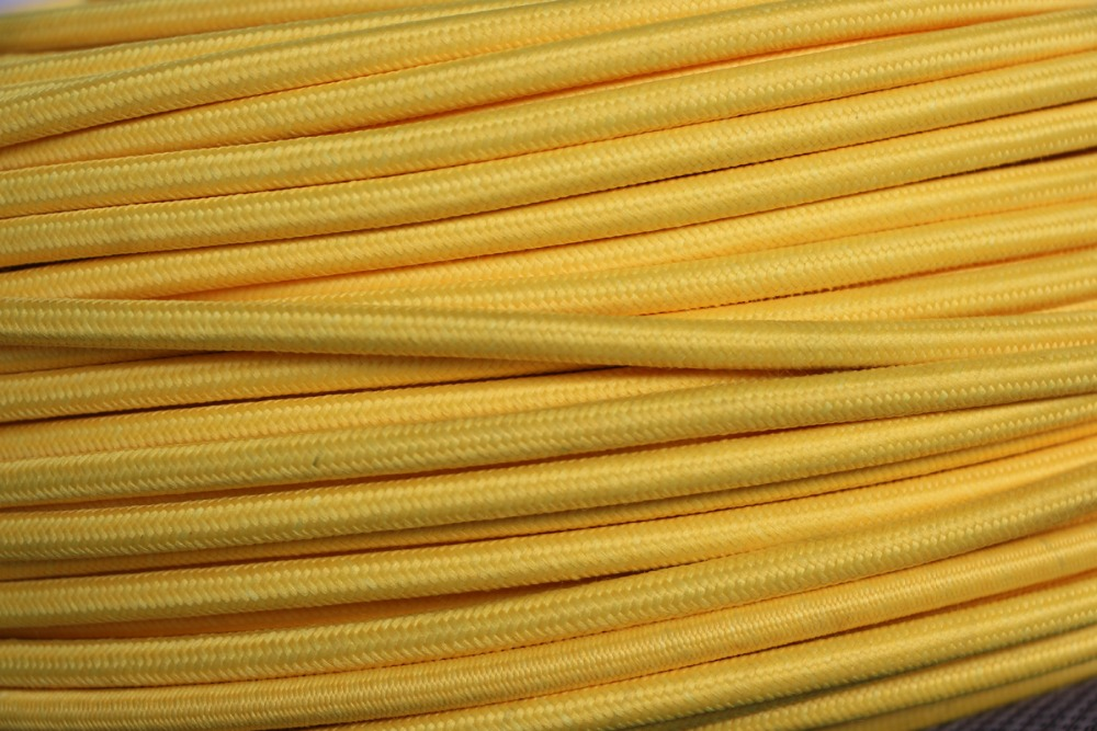 <font><b>5</b></font> meter Yellow Color 2 <font><b>core</b></font> 0.75mm2 Textile Electrical <font><b>Wire</b></font> Color Braided <font><b>Wire</b></font> Fabric Covered Electrical Power Cord <font><b>Wire</b></font> Cable image