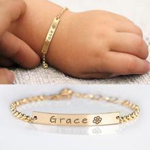 Pulsera de acero inoxidable personalizable para bebé, brazalete ajustable, placa con nombre, niño, niña, regalo de cumpleaños