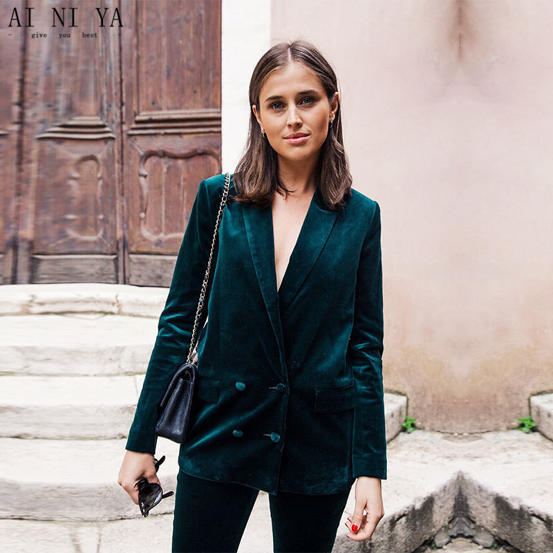 Custom Made Dark Green Women Business Suits Velvet Formal Office Uniform Style Slim Fit Work Wear 2 Piece Sets Double Breasted