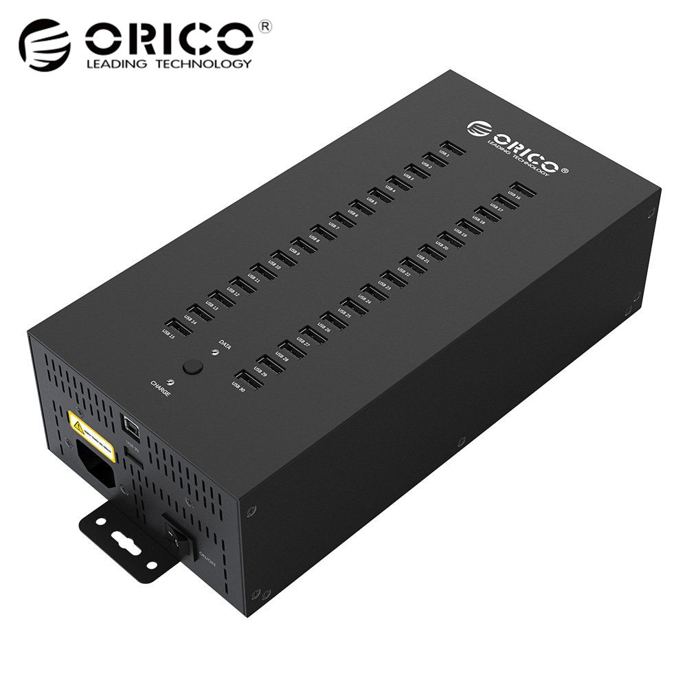 Orico 30 Ports Industrial USB2.0 HUB USB Charger Support Data Test Batch Copy or Charging with 300W Detached Power Adapter kootek® vertical stand cooler fan charging station with dual charger ports and usb hub for ps4 playstation 4 console dualshock controllers