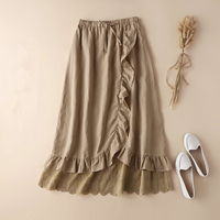 Japanese Mori Girl Ruffle Hem Wrap Skirt A line Irregular Long Skirt