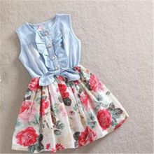 Summer Dress Girl Dress New For 2-12 Age Bow Floral Girls Princess Party Kids Formal Dress drop shipping