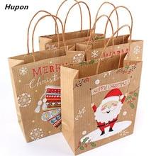12pcs Christmas Gift Bags Santa Sacks Kraft Paper Bag Kids Party Favors Box Christmas Decorations for Home New Year 2020 navidad