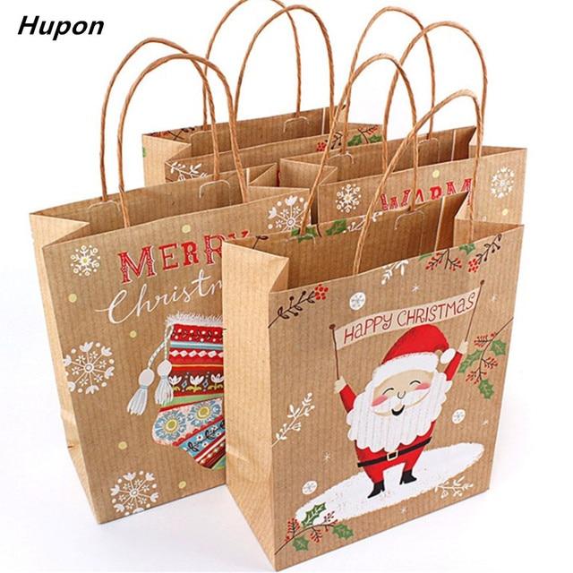 12pcs Christmas Gift Bags Santa Sacks Kraft Paper Bag Kids Party