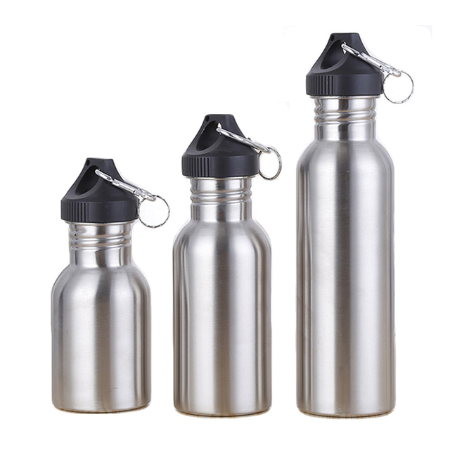 350/500/750Ml Stainless Steel Drinking Water Bottle Outdoor Travel Sports Riding Wide Mouth Drink Bottles Kettle Outdoor Tools