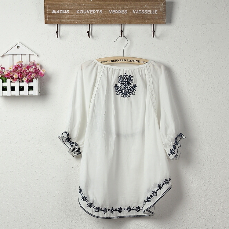 2017 Hot Sale Fashionh Vintage EMBROIDERED boho HIPPIE ethnic Tent mini tops white blouse,women clothing Free Shipping
