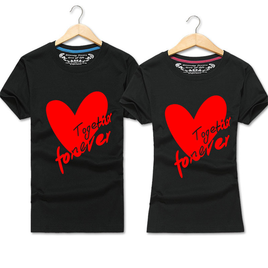 Couple Tshirt Fashion Matching Clothes Heart LOVE Print T-Shirt Unisex Cotton T Shirt for Lovers