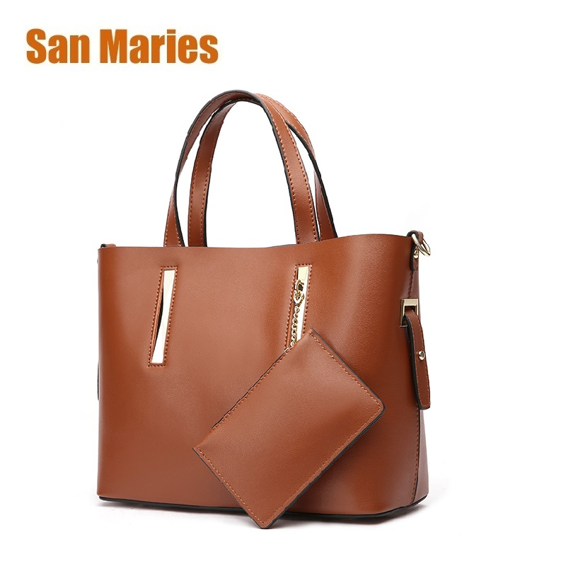 San Maries Luxury Handbags Women Bags Designer High Quality Leather Handbags Solid Totes Bag for Woman 2 Sets Shoulder Bag New san maries 100% genuine leather women handbags 2018 new arrival female korean fashion totes crossbody bag shoulder bags handbags