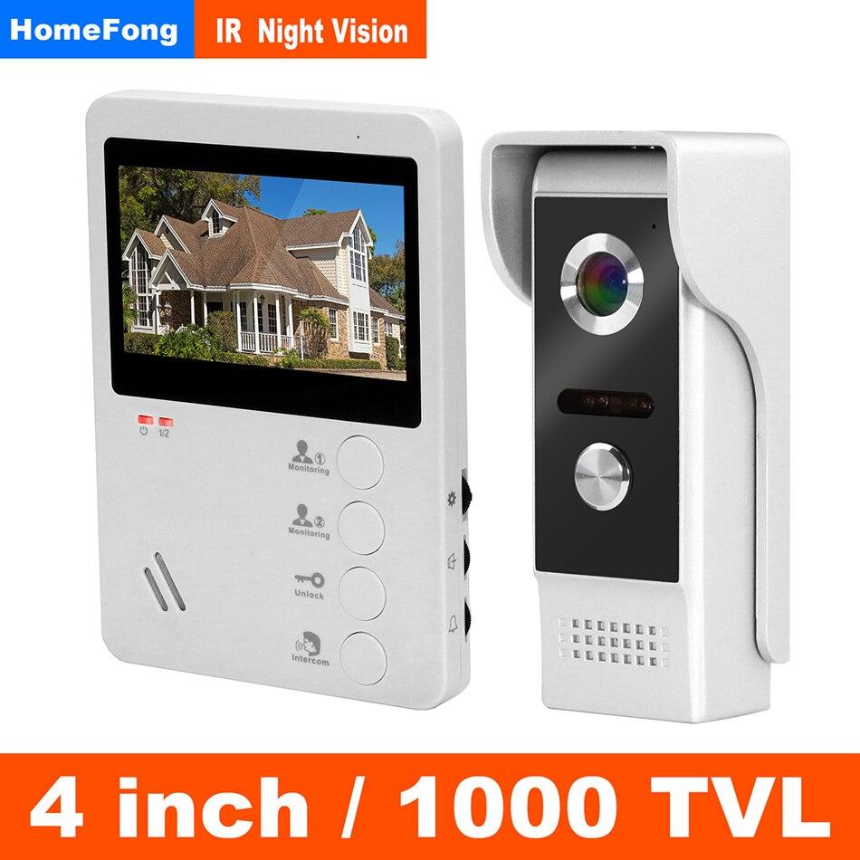 HomeFong Video Intercom 4 Inch Video Door Phone Wired Door Intercom System Kit With Indoor Monitor Outdoor Video Doorbell Camera
