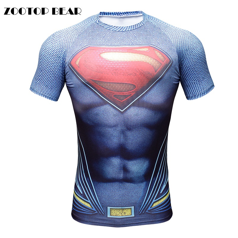 2016 3D T-Shirt Men Superman Batman Men Tops Crossfit Compression Bodybuilding Funny Print Tees Male Boy Camisetas ZOOTOP BEAR