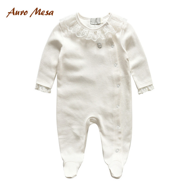 Autumn New Brand Baby Clothing Solid Full One-piece Romper 100% Cotton Lace Newborn Girls Clothes Jumpsuits
