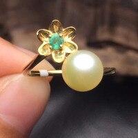 Gems tamaño 7.2mm joyería fina 18 k oro blanco upclass certificado anillo de perlas naturales para las mujeres