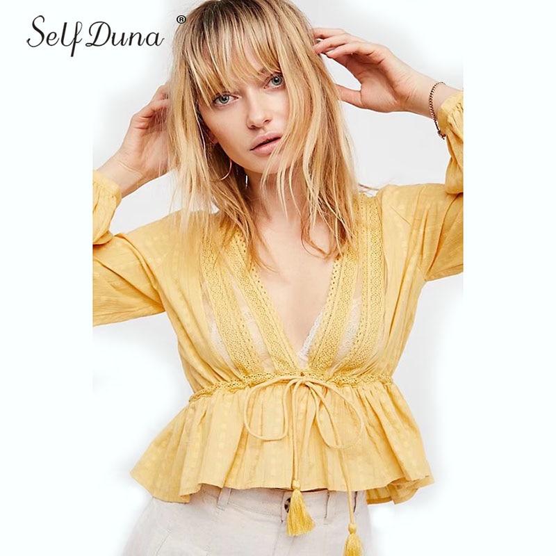 Self Duna Top 2018 Summer Female Cardigan Ruffle   Blouse   Long Sleeve V Neck Yellow Red Crochet Lace Up Tassel Women   Blouse     Shirt