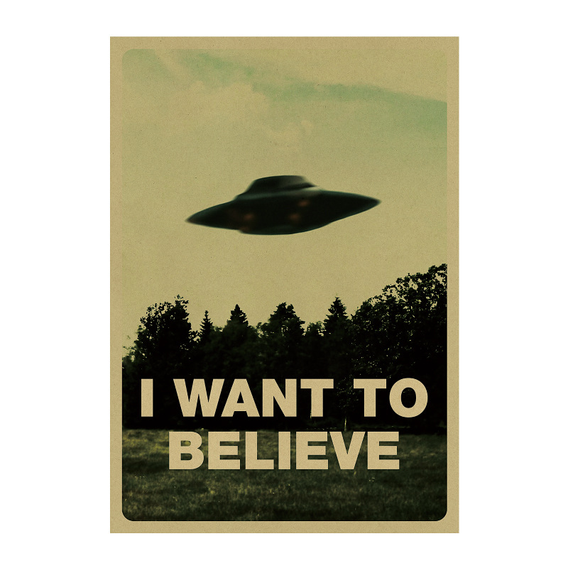 I want to belive UFO /science imagination /Wall stickers/ kraft paper/bar poster/Retro Poster/decorative painting 51x35.5cm