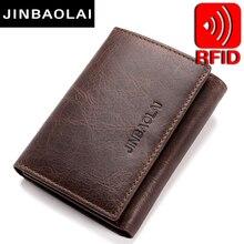 Rfid bloqueando carteiras de couro genuíno 3 fold curto masculino embreagem carteiras de couro titular do cartão crédito carteira bolsas sacos