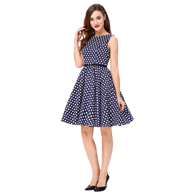 Women Summer Dress 2017 Retro 1950s 60s Vintage Rockabilly Dress Pinup Plus Size Sexy Polka Dots Short Party Dresses Vestidos