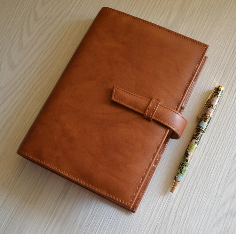 K&KBOOK Luxury Genuine leather Notebook A5 A6 A7 Diary Leather Mini Notepad Loose-leaf Spiral Binder Journal Office Supply a6 spiral notebook diary notepad dokibook business leather loose leaf notepad school office supply customized logo page 6