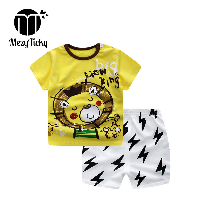 d187b63faa73 Summer Boys Girls Short-sleeved Children Cotton clothes Baby Cartoon  Clothing 2pcs set 1-4years Toddler Fashion T-shirt Shorts