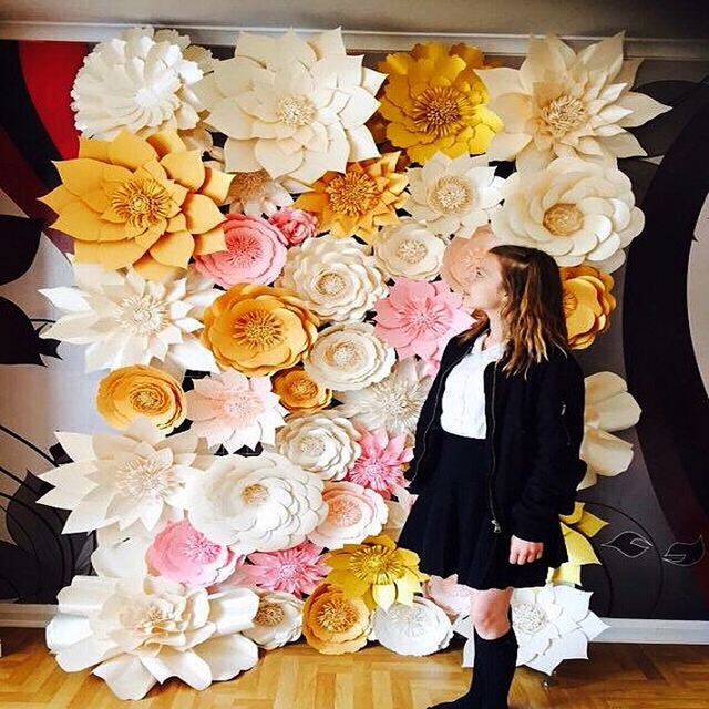 44pcs SET Handmade Cardboard Giant Paper Flowers Wedding Backdrop ...