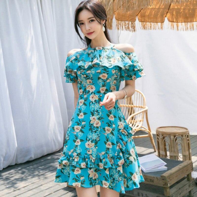 Summer Off Shoulder Ruffles Floral Print Women Vestidos Mini A-Line Sexy Dress