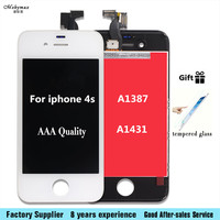 New LCD Display A1387/A1431 Touch Digitizer Glass Assembly for iPhone 4S Black&White Screen LCD with tempered glassDisplay
