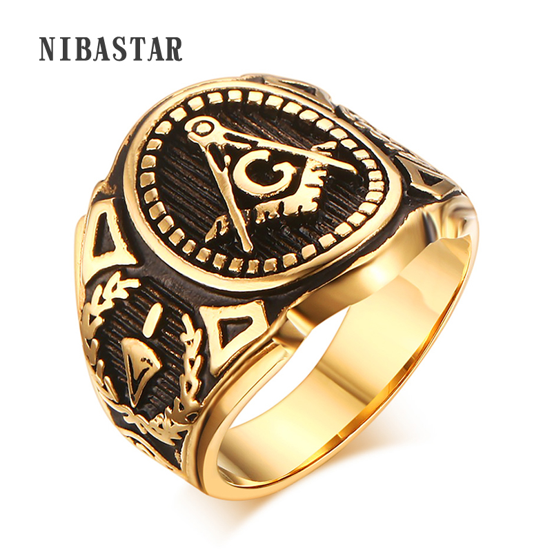 Punk New Men's Stainless Steel Masonic MASON Gold Color Tone Biker Ring Size 8-12#
