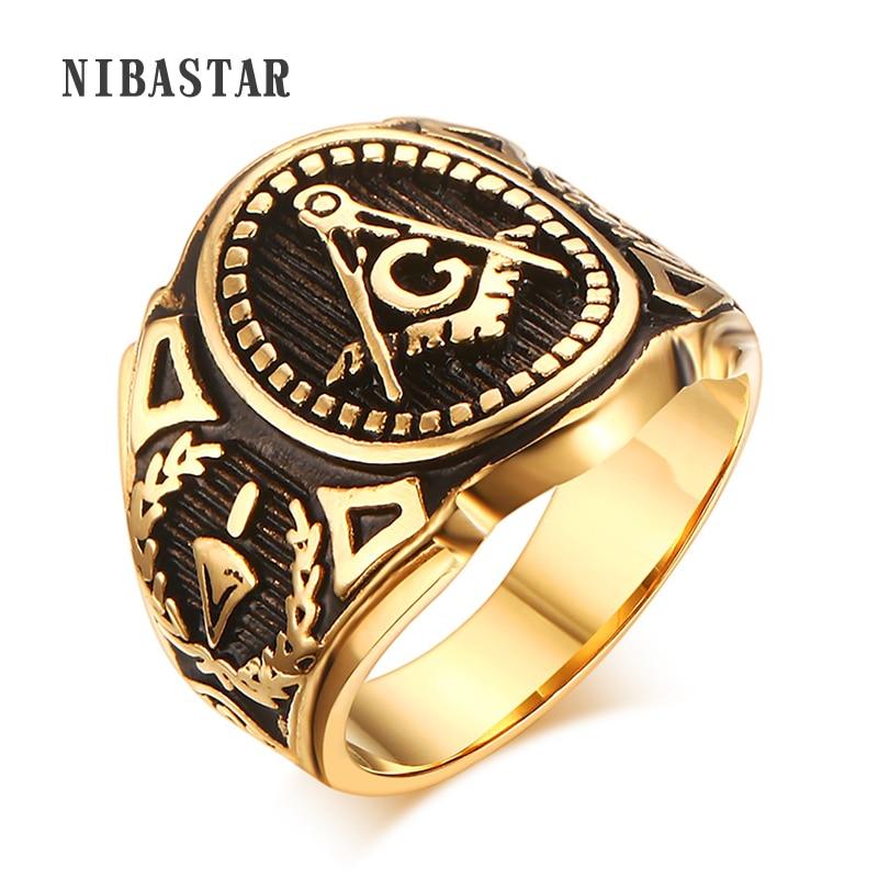 Пунк нови мушки масонски масонски нехрђајући челик МАСОН златне боје Тоне прстен за бајкере Величина 8-12 #