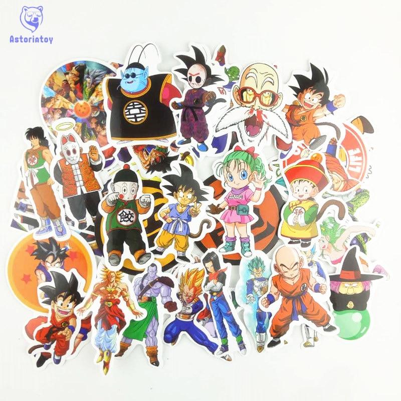50pcs/1lot Dragon Ball Z Super Saiyan Goku Vegeta Sticker Creative Personality Waterproof Rip N Dip Laptop Sticker for Finger