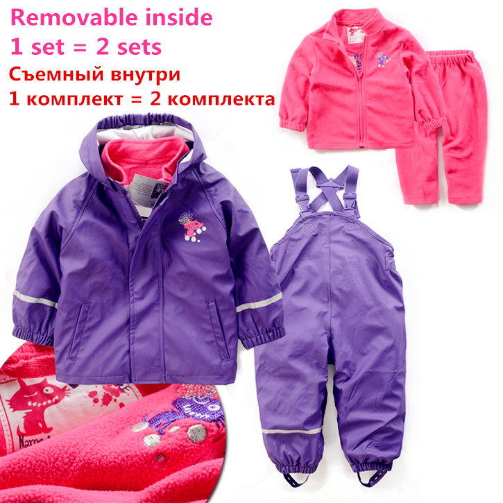 PU inner child weatherproof suits outfits set equal to two removable raincoat and rain pants suit