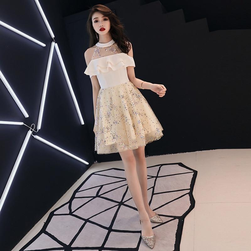 Women Coctail Dresses A-line Champagne Party Elegant Dress Sleeveless Champagne 2019 Plus Size Short Custom Robe Cocktail E440