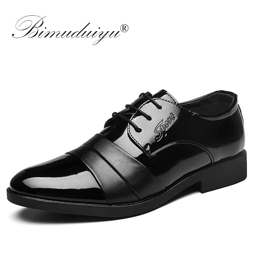 BIMUDUIYU Brand PU Leather Shoes Fashion Men Oxfords Men's Flats Formal Shoes Classic Man Pointed Toe Dress Shoes