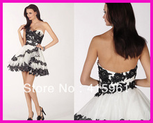 Free Shipping Black And White Lace Short Cocktail Homecoming Dresses Dress E810
