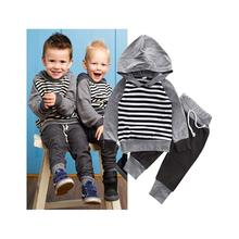 Toddler Baby Boy Girl Stripped Sweatshirt Tops+Pants 2pcs Outfits Tracksuit Set